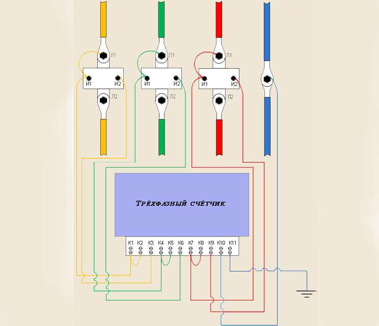 подключение прибора учета к трансформатору