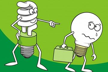 энергосберегающая лампочка прогоняет лампу накаливания