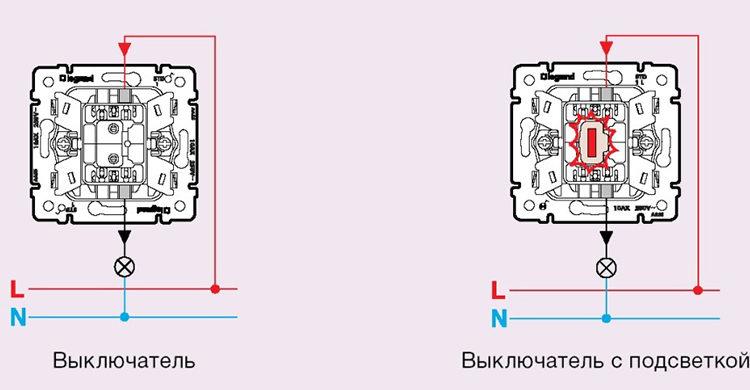 варианты подключение выключателей